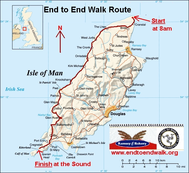 Route Map Ramsey Bakery Isle Of Man End To End Walk - Isle of man map